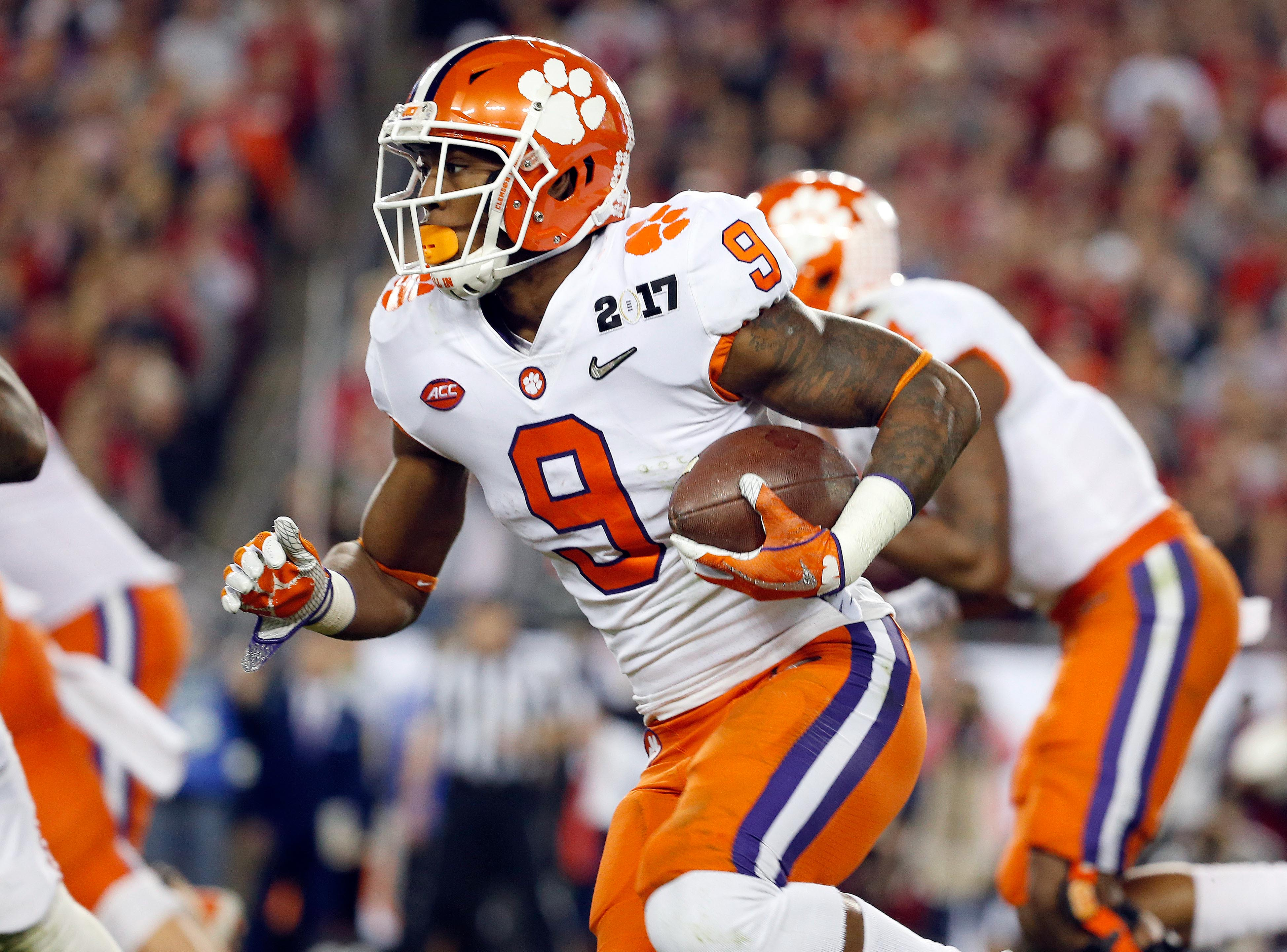 clemson football wayne tigers running gallman nfl giants alabama vikings college championship national ncaa ball backs security draft backfield runs